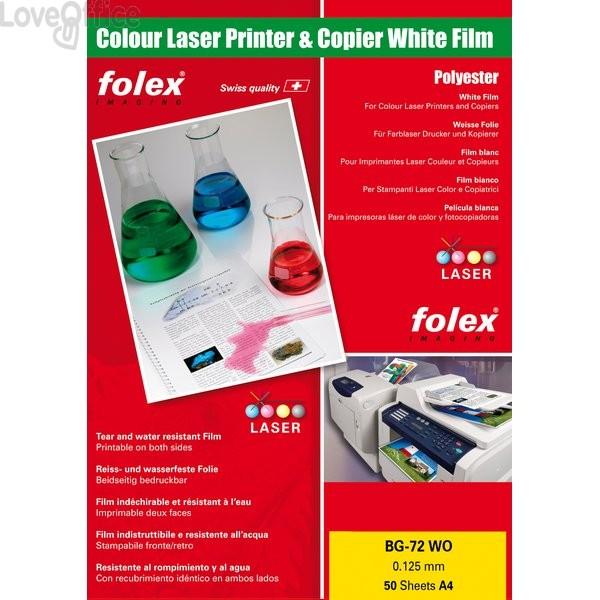 Film per stampanti laser Folex - A4 - 125 my - Bianco lucido - BG-72 WO (conf.50)