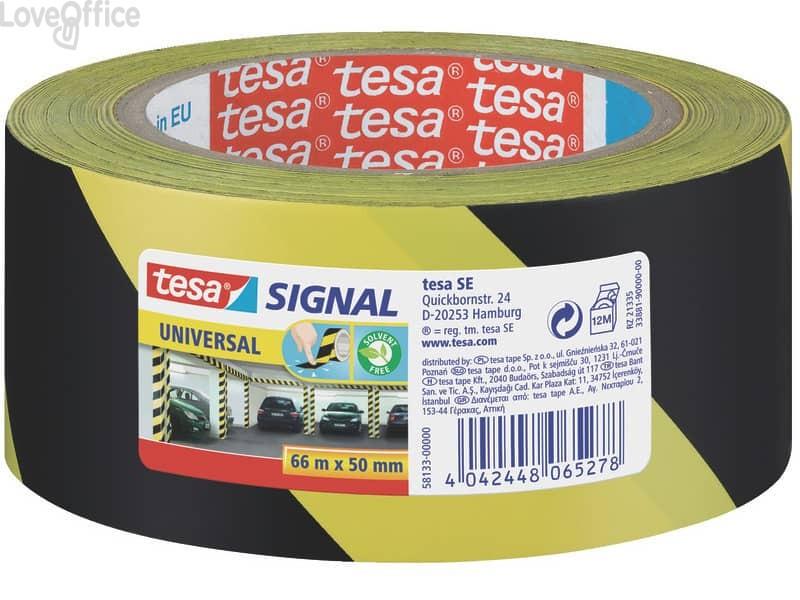 Nastro segnaletico adesivo giallo-nero Tesa in OPP con adesivo acrilico 50mm x 66m - 58133-00000-00