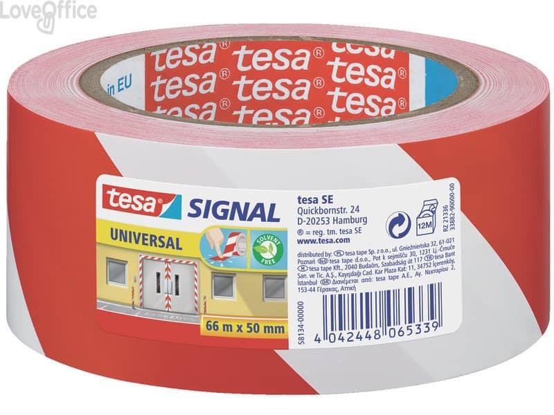 Nastro segnaletico adesivo rosso-bianco Tesa in OPP con adesivo acrilico 50mm x 66m - 58134-00000-00