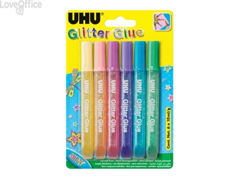 Colla glitter Uhu Shiny 6x10 ml D1641 (conf. 6 pezzi)