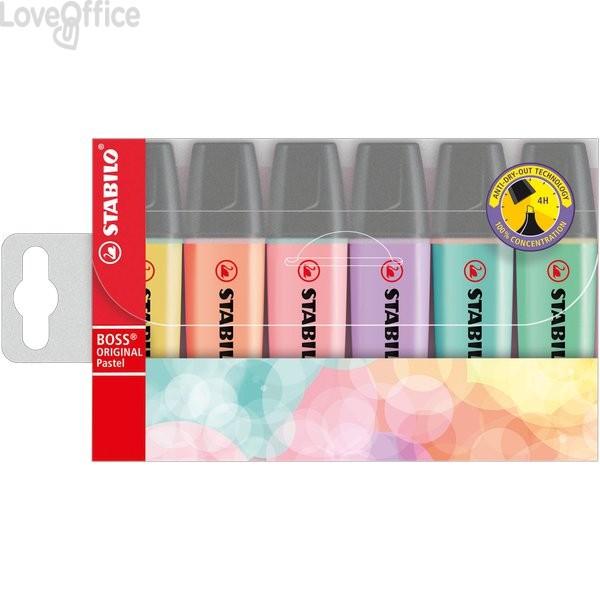 Astuccio in plastica Evidenziatore Stabilo Boss Original - assortiti pastel - 70/6-2 (conf.6)