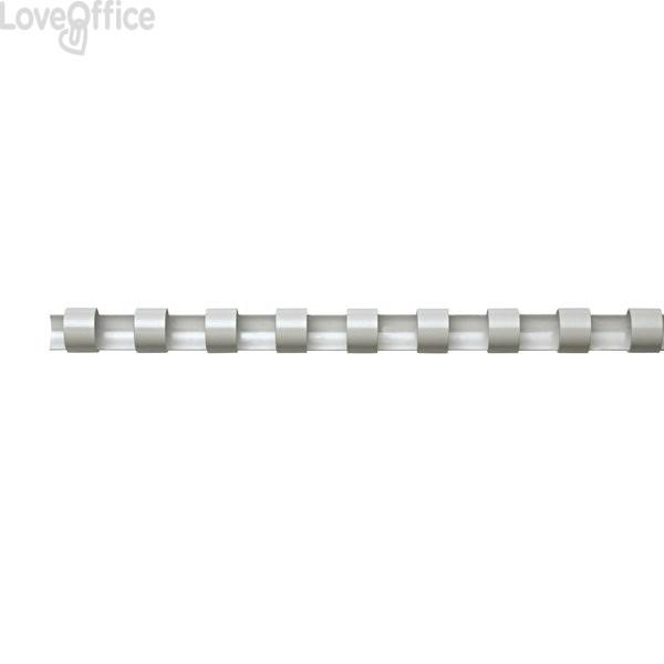 Dorsi plastici a 21 anelli Fellowes - 12 mm - 80 fogli - bianco - 5346206 (conf.100)