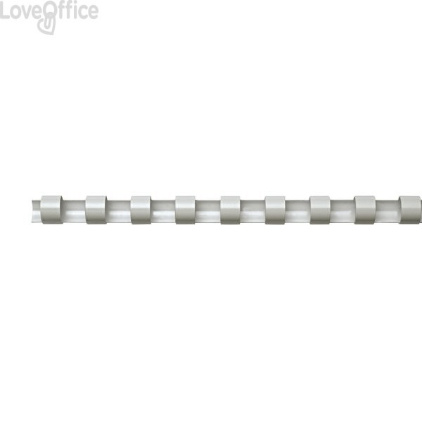 Dorsi plastici a 21 anelli Fellowes - 14 mm - 100 fogli - bianco - 5346604 (conf.100)
