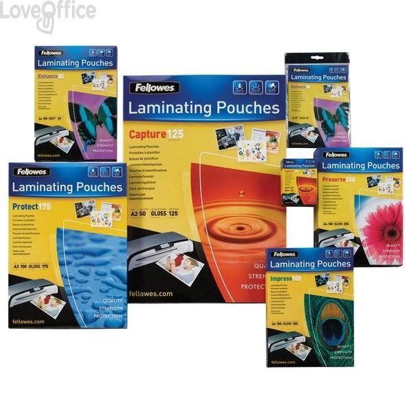 Pouches per plastificatrici Fellowes - 80 micron per lato - A4 - lucida - 5306114 (conf.100)