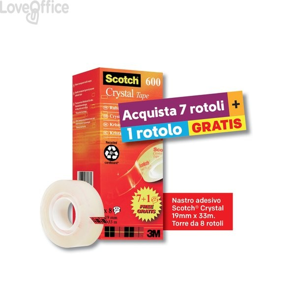 Nastro adesivo Scotch® Crystal 600 - 19 mm x 33 m - supertrasparente - VP 8RT CRYSTAL 600 (conf.8)