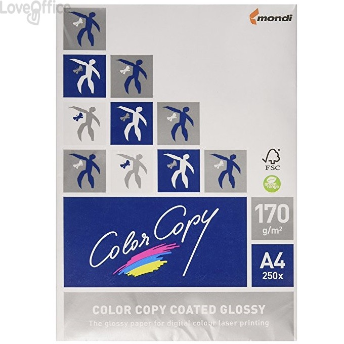 Risma di cartoncini bianchi A4 Color Copy coated glossy - 170 g/mq (250 fogli)