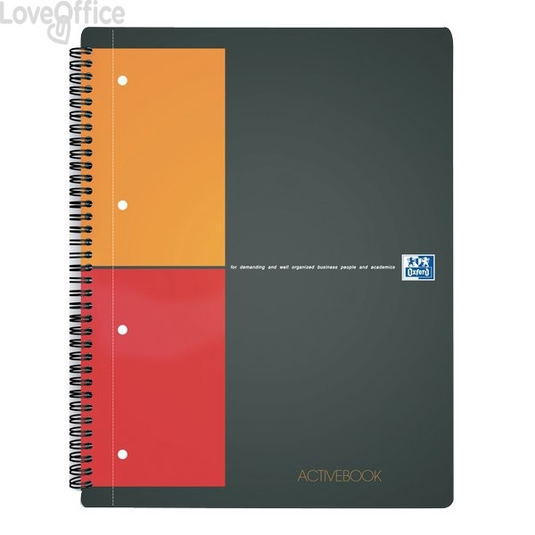 Quaderno con spirale ACTIVEBOOK INTERNATIONAL Oxford - A4+ - 80 fogli - 5 mm c/marg.