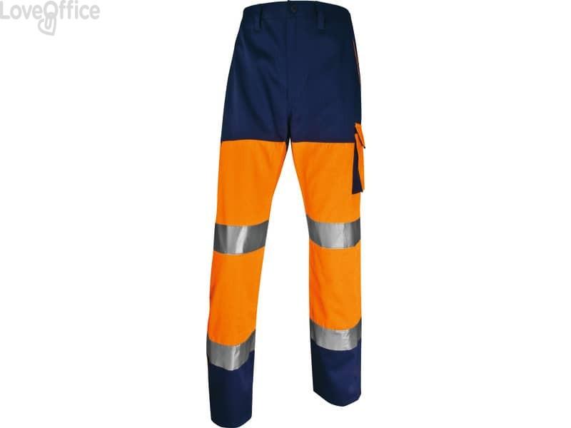 Pantaloni da lavoro Delta Plus ad alta visibilità catarifrangenti - classe 2 - 5 tasche - argento arancio fluo-blu - L