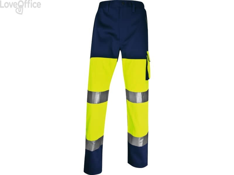 Pantaloni da lavoro Delta Plus ad alta visibilità catarifrangenti - classe 2 - 5 tasche - argento giallo fluo-blu - XL
