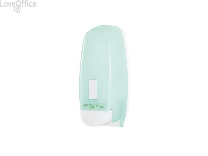 Distributore di sapone liquido con cartuccia 12,5x12,6x26,5 cm QTS con capacità 1000 ml verde opalino