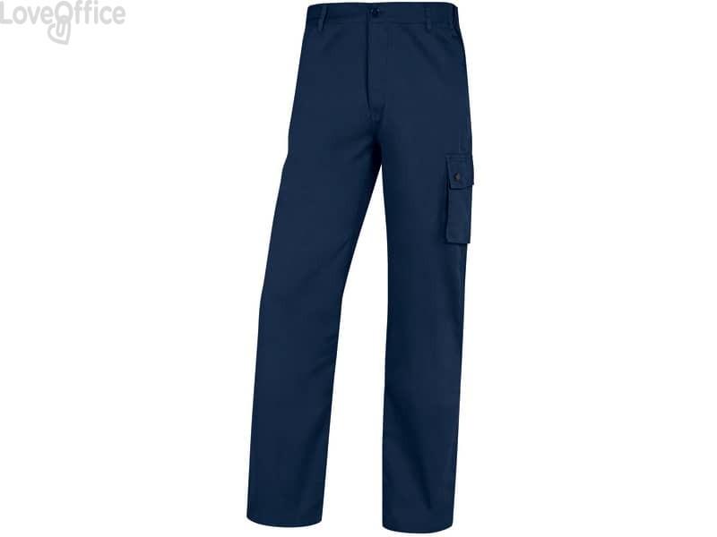 Pantaloni da lavoro Delta Plus Palig in cotone con elastico - 5 tasche blu - M