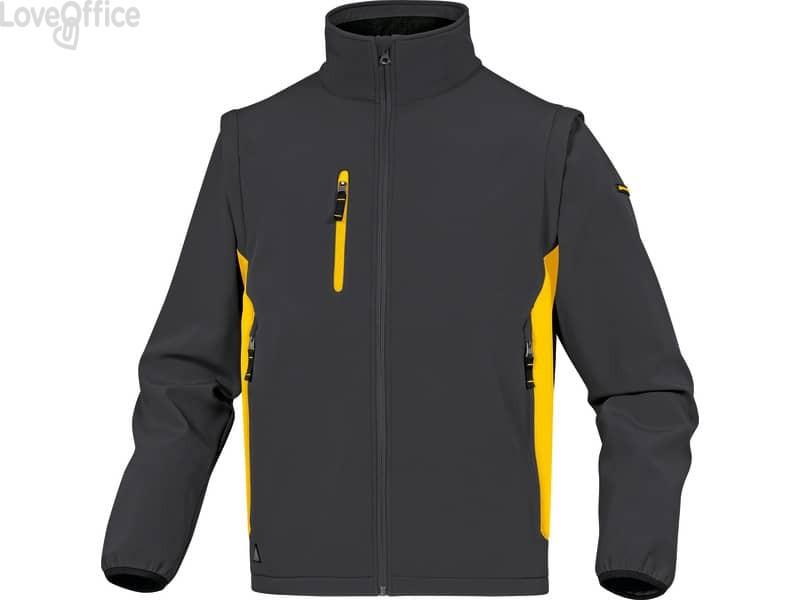 Giacca da lavoro DELTA PLUS MySen 2 con zip - 5 tasche - maniche staccabili grigio-giallo - XXL - MYSE2GJXX