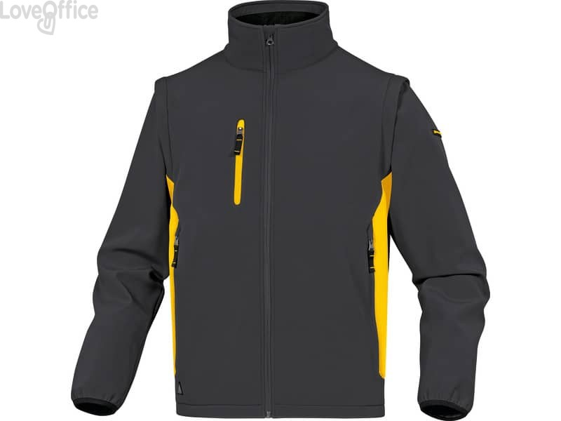 Giacca da lavoro DELTA PLUS MySen 2 con zip - 5 tasche - maniche staccabili grigio-giallo - XL - MYSE2GJXG