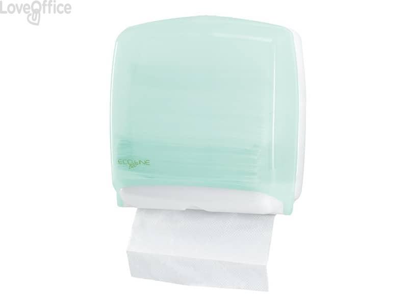 Distributore mini di carta asciugamani in fazzoletti QTS in PPL con capacità 300 foglietti verde opalino