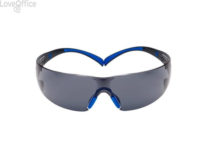 Occhiali di protezione 3M SecureFit™ 400 montatura Scotchgard™ anti nebbia - lenti grigie blu/grigio - SF402SGAF-BLU