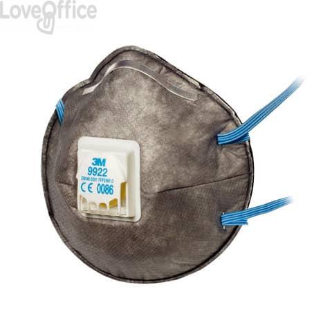 Respiratore FFP2 9922 - Maschera 3M per polveri, fumi e nebbie - 89620 (conf.10)