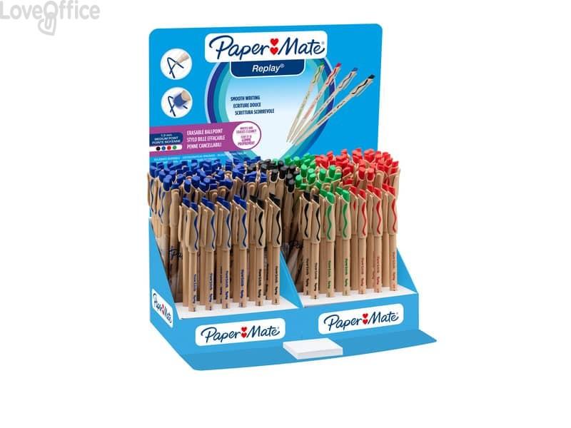 Penne a sfera stick Paper Mate Replay cancellabile M 1 mm assortiti - S0181053 (espositore da 168)