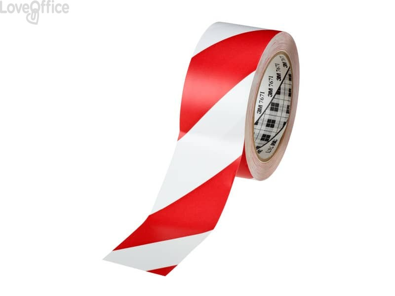 Nastro per segnaletica 3M in vinile 33m x 50,8 mm. rosso/bianco 767I