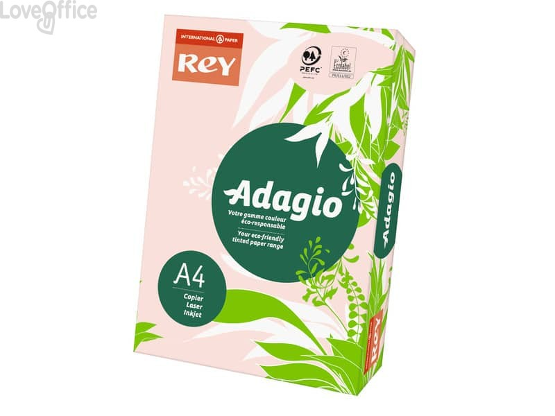 Carta colorata A4 Rosa INTERNATIONAL PAPER Rey Adagio 80 g/m² (risma 500 fogli)