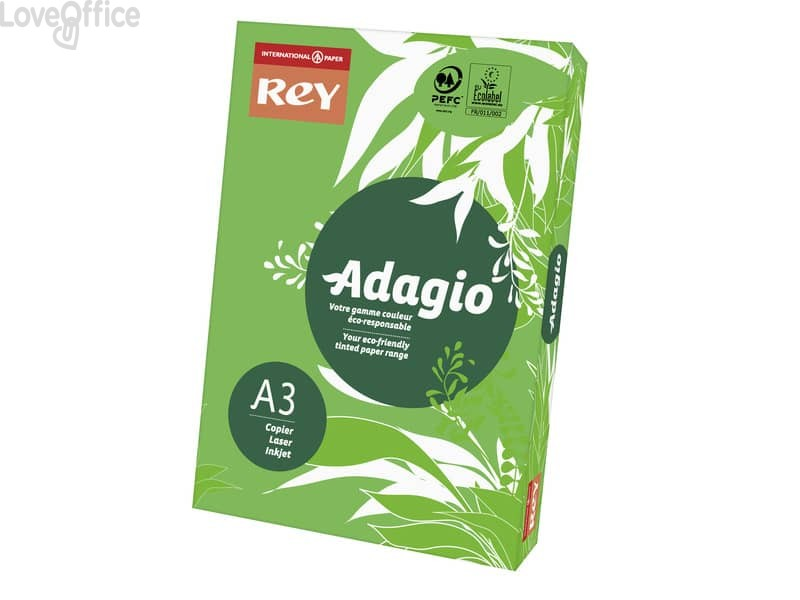 Carta colorata A3 verde intenso INTERNATIONAL PAPER Rey Adagio 80 g/m² (risma 500 fogli)