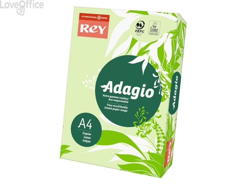 Cartoncini colorati A4 verde INTERNATIONAL PAPER Rey Adagio 160 g/m² (risma da 250 fogli)