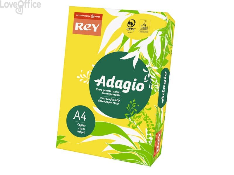 Cartoncini colorati A4 giallo intenso INTERNATIONAL PAPER Rey Adagio 160 g/m² (risma 250 fogli)