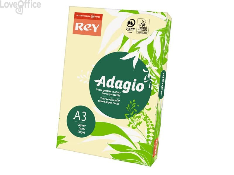 Cartoncini colorati A3 giallo canarino INTERNATIONAL PAPER Rey Adagio - 160 g/m² (risma 250 fogli)