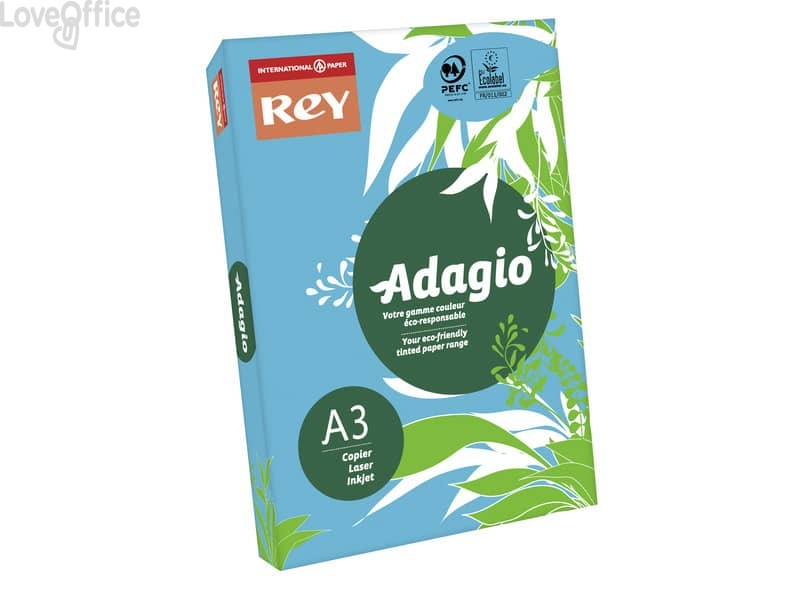 Cartoncini colorati A3 blu intenso INTERNATIONAL PAPER Rey Adagio 160 g/m² (risma 500 fogli)