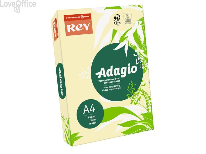 Carta colorata A4 giallo canarino INTERNATIONAL PAPER Rey Adagio 80 g/m² (risma 500 fogli)