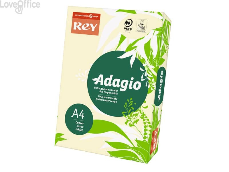 Cartoncini colorati A4 Avorio INTERNATIONAL PAPER Rey Adagio 160 g/m² (risma da 250 fogli)