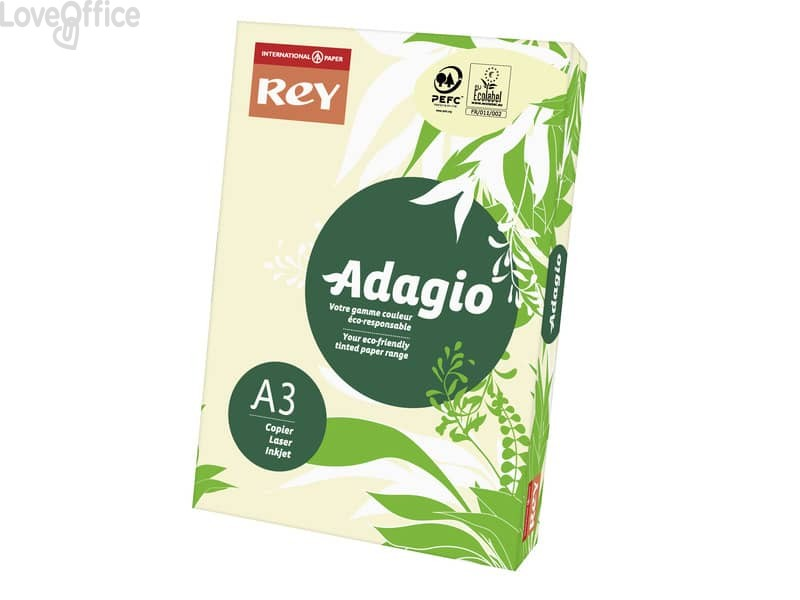 Carta colorata A3 avorio INTERNATIONAL PAPER Rey Adagio 80 g/m² - 29,7x42 cm (risma 500 fogli)