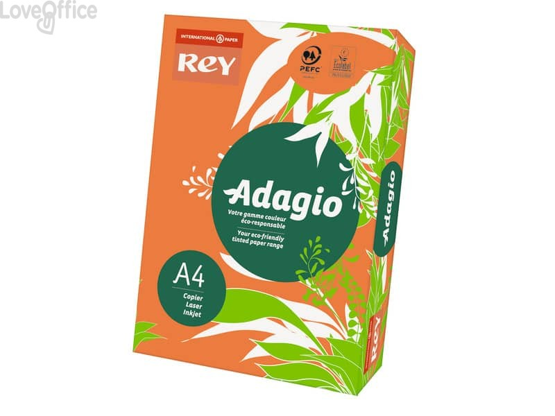 Cartoncini colorati A4 arancio INTERNATIONAL PAPER Rey Adagio 160 g/m² (risma 250 fogli)