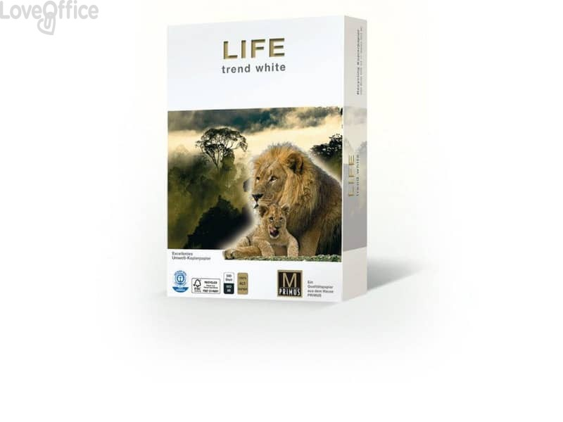Carta per fotocopie Riciclata A4 Primus Life 80 g/m² (5 risme da 500 fogli)