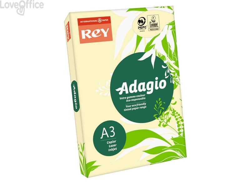 Carta colorata A3 giallo canarino INTERNATIONAL PAPER Rey Adagio - 80 g/m² (risma 500 fogli)