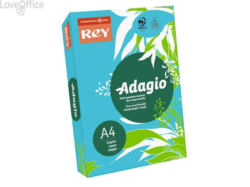 Carta colorata A4 blu intenso INTERNATIONAL PAPER Rey Adagio 80 g/m² (risma 500 fogli)