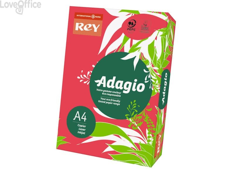 Carta colorata A4 rosso intenso INTERNATIONAL PAPER Rey Adagio 80 g/m² (risma da 500 fogli)