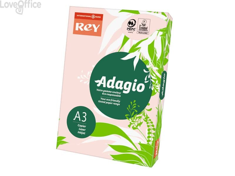 Cartoncini colorati A3 rosa INTERNATIONAL PAPER Rey Adagio - 160 g/m² - 29,7x42 cm (risma 250 fogli)