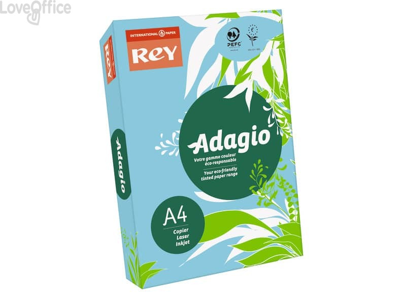 Carta colorata A4 blu tenue INTERNATIONAL PAPER Rey Adagio 80 g/m² (risma 500 fogli)