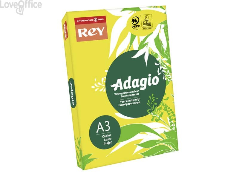 Carta colorata A3 giallo intenso INTERNATIONAL PAPER Rey Adagio 80 g/m² - 29,7x42 cm (risma 500 fogli)