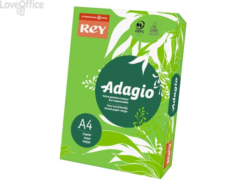 Carta colorata A4 verde intenso INTERNATIONAL PAPER Rey Adagio 80 g/m² (risma da 500 fogli)
