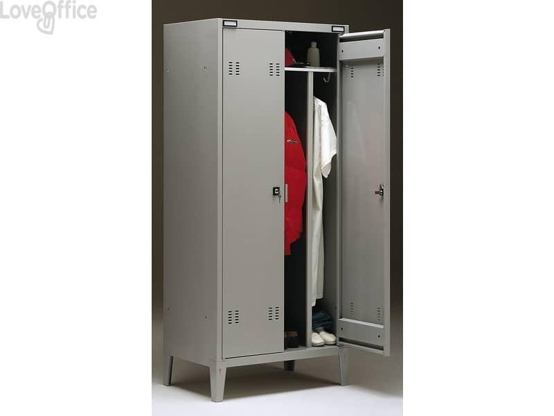 Spogliatoio Tecnical 2 a 2 posti con divisorio sporco/pulito - Acciaio 7/10 monoblocco - 80x47x180 cm