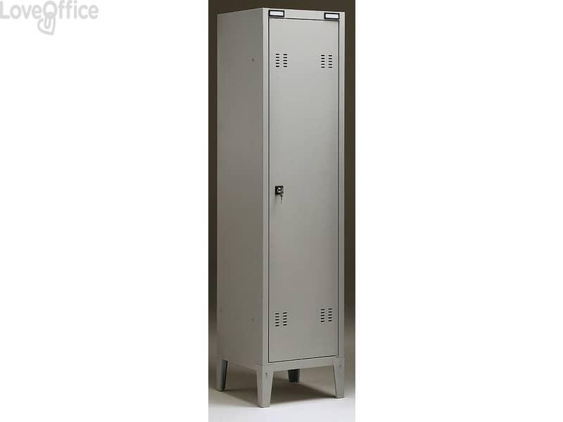 Spogliatoio Tecnical 2 a 1 posto grigio - acciaio 7/10 monoblocco B1 - 38x35x180 cm