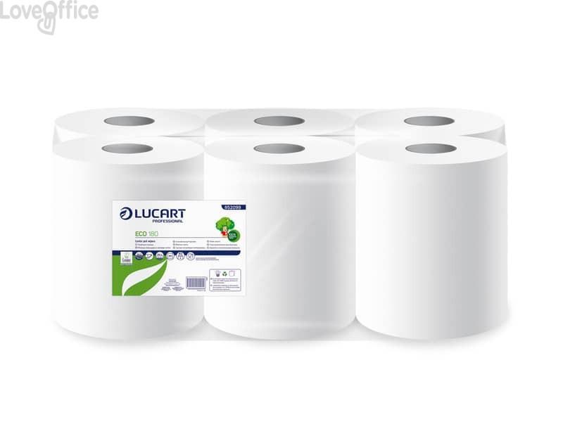 Asciugamani industriali multiuso Lucart Eco - 180 m - 2 veli - H 23 x Ø 19,5 cm - Ø anima 7,6 cm - 486 strappi (conf.6 rotoli)