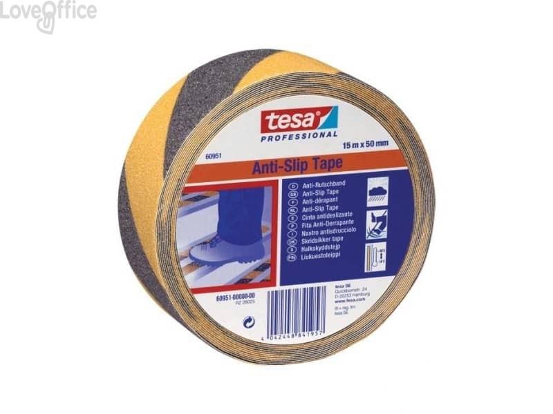 Nastro antisdrucciolo Tesa Anti Slip Professional 50mmx15m giallo-nero 60951-00000-00