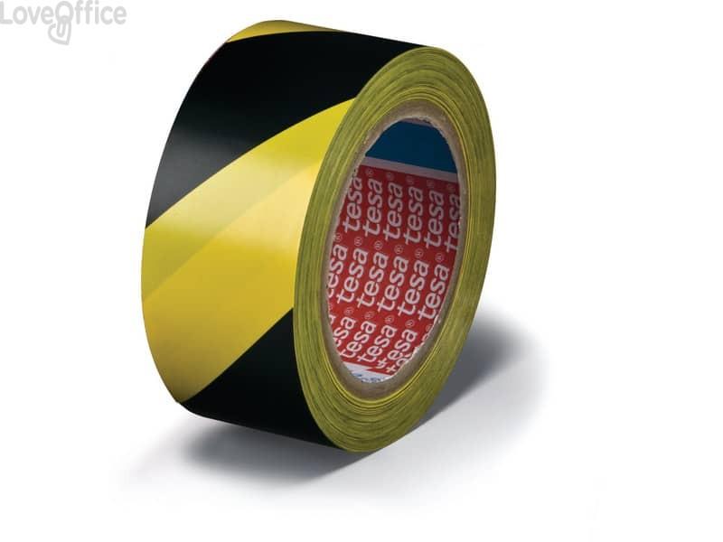 Nastro segnaletico in PVC giallo-nero Tesa Tesaflex® rivestito da un adasivo in gomma resina modificata - 60760-00087-15