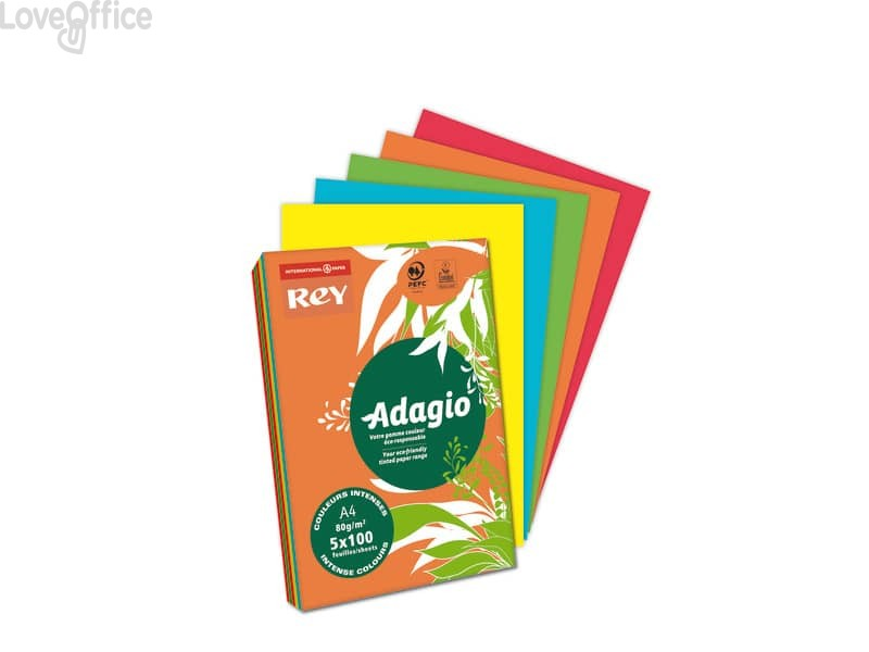 Carta colorata assortita A4 INTERNATIONAL PAPER Rey Adagio colori forti 80 g/m² (risma 500 fogli)