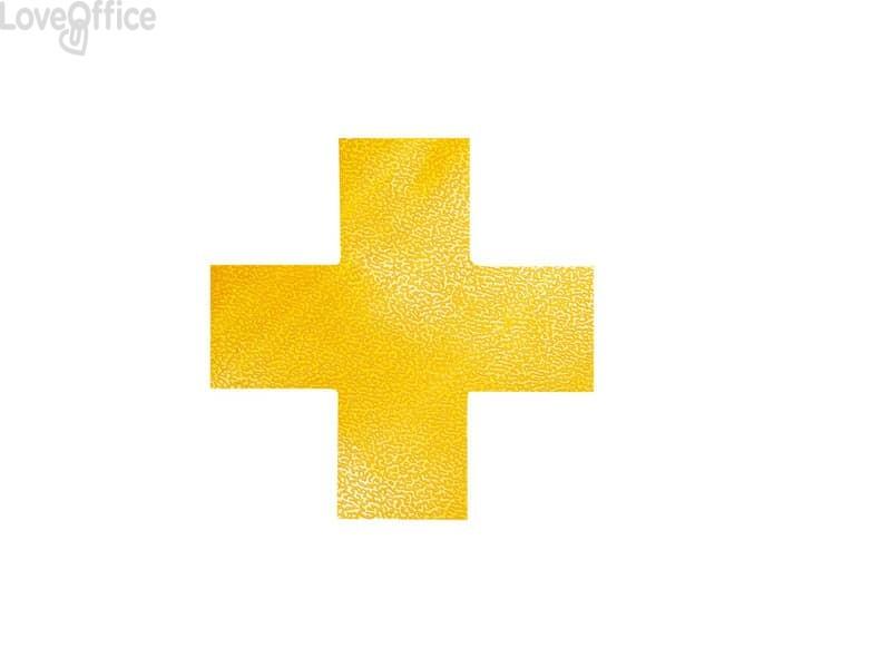 """Segnaletica da pavimento forma """"croce"""" DURABLE RAL 1003 giallo 150x0,7x150mm - 170104 (conf. 10)"""