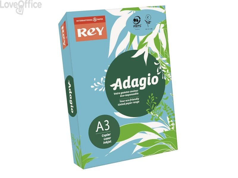 Cartoncini colorati A3 blu tenue INTERNATIONAL PAPER Rey Adagio - 160 g/m² - 29,7x42 cm (risma 250 fogli)