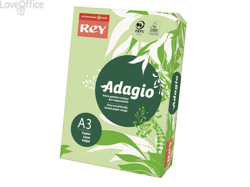 Carta colorata A3 verde INTERNATIONAL PAPER Rey Adagio - 80 g/m²  - 29,7x42 cm (risma 500 fogli)