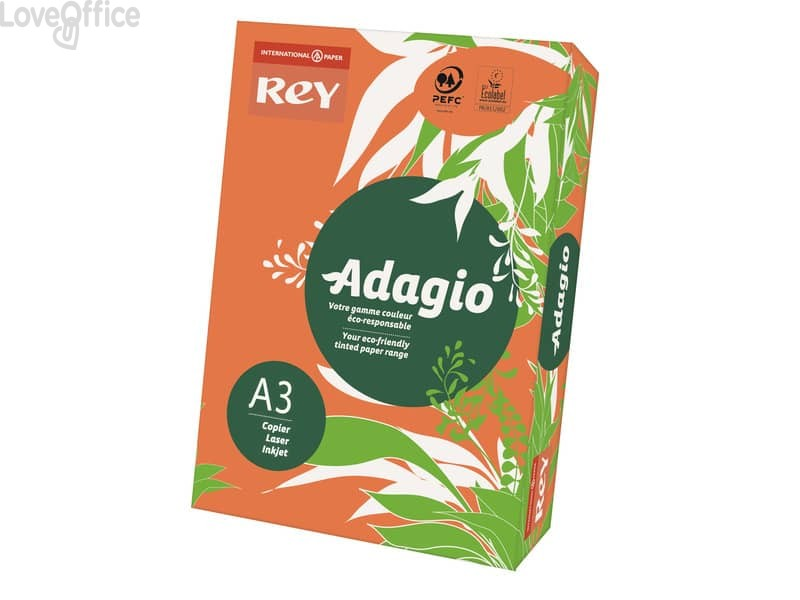 Cartoncini colorati A3 arancio INTERNATIONAL PAPER Rey Adagio - 160 g/m² (risma 250 fogli)